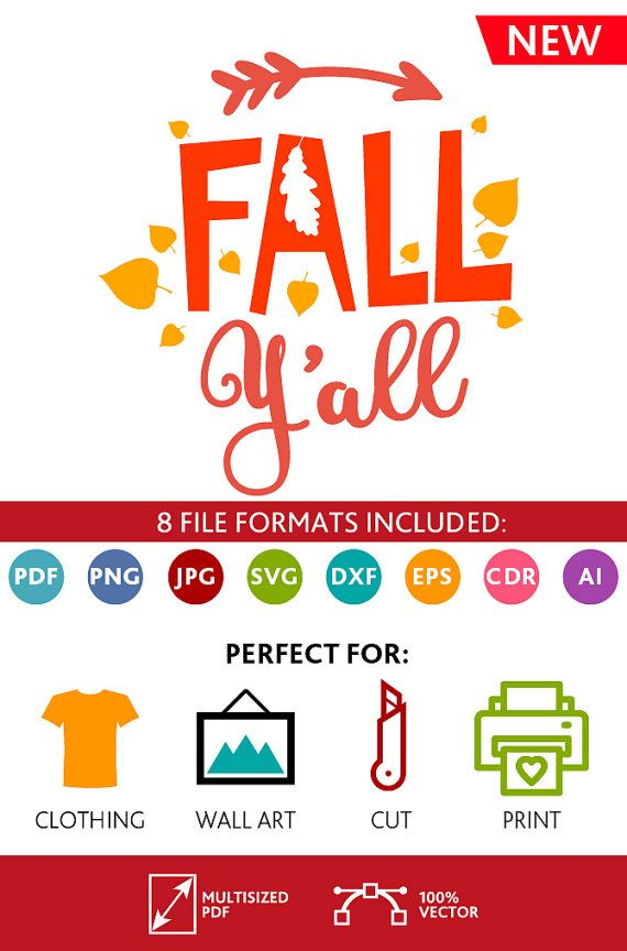 Fall Y'all SVG Cut Files Fall Yall Svg Wall Art Quote Printable Art Decor room Art Printable Poster digital (Svg Dxf Cdr Eps Ai Jpg Pdf Png)