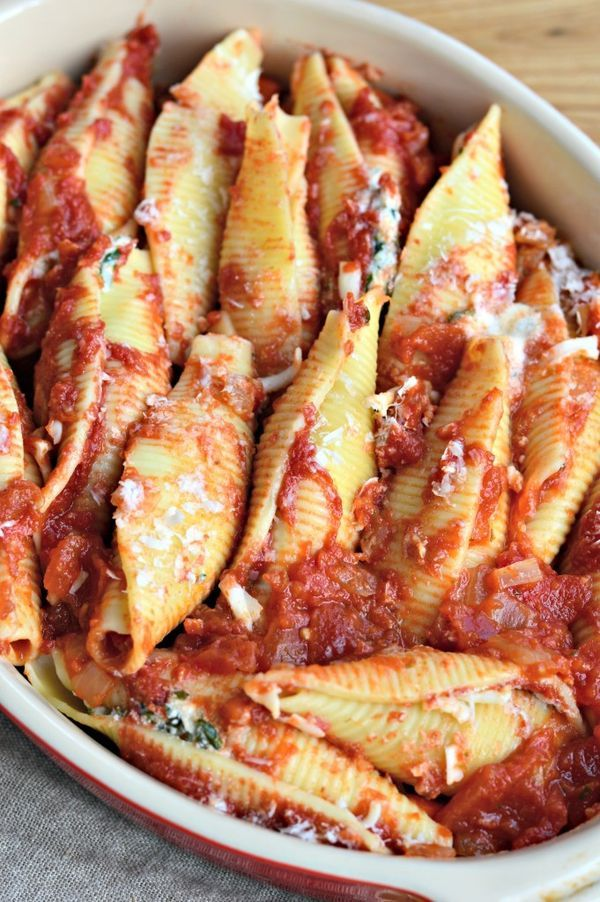 The best-ever, from-scratch stuffed shells recipe! Vegetarian and easy to prepare in advance. Feeds a crowd!