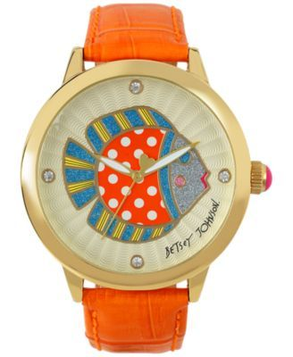 Betsey Johnson Women's Orange Leather Strap Watch 44mm BJ00280-21