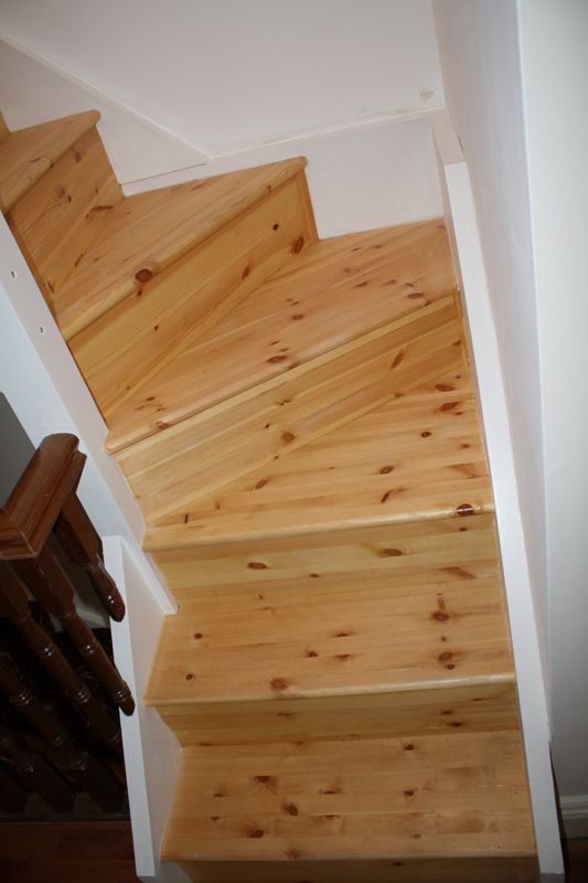 Double winder staircase in red deal leading to attic ...