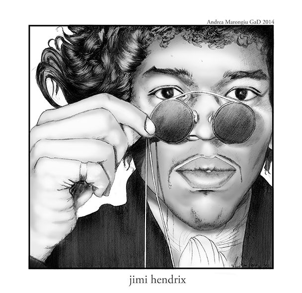 #Jimi #Hendrix#;  #portrait#illustration created by #Andrea #Marongiu, #pencils on paper and #digital #painting on #gray #scale; commissioned by local #Boteco in #Bologna,     http://andreamarongiu.wix.com/matite-di-mare#!creazioni/c1t44