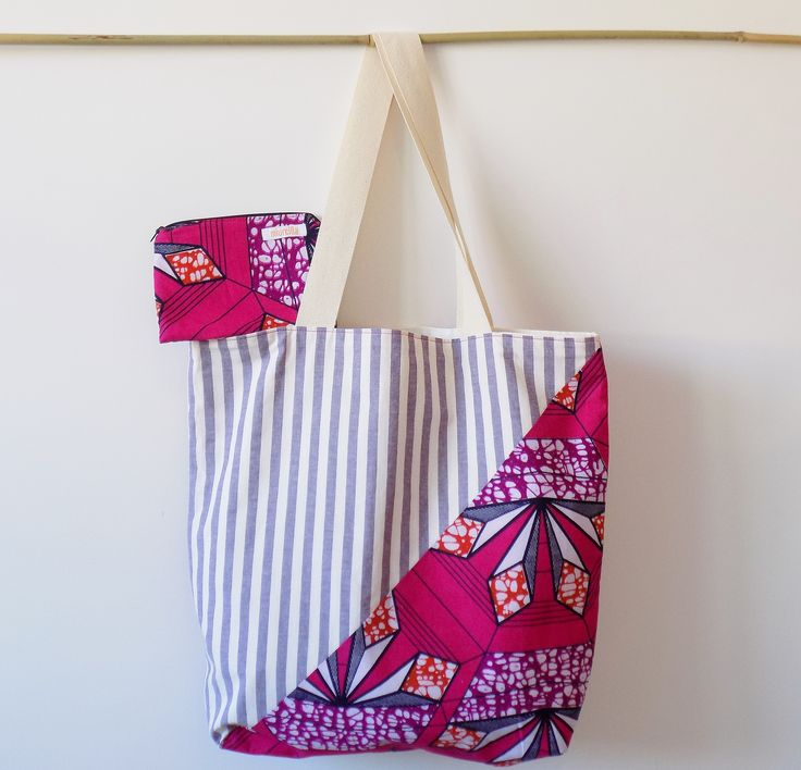 Summer set with bag and purse, handmade in Italy with real wax cotton fabric