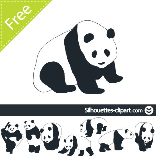 panda vector silhouette | silhouettes clipart