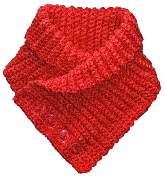 Buttoned Neck Warmer Scarflette Crochet Pattern Instructions