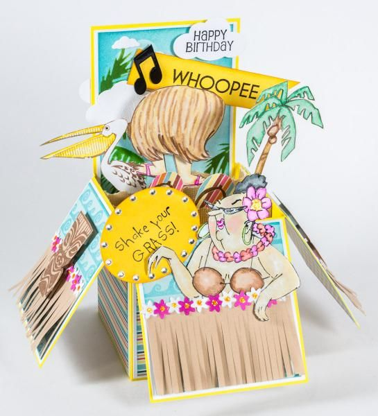 Art Impressions Shake Your Booty! Hula Set (Sku#4306) Handmade box Hula Birthday card. Love the grass skirt, palm tree and all the accents.