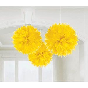 A18055/09 - Hanging Decorations Fluffy Hanging Decoration Yellow (40cm) Pom Pom - Pack of 3. Please note: approx. 14 day delivery