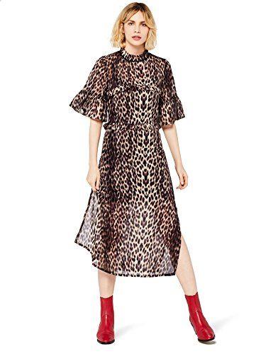 8660f4b795e FIND Women's Animal Print Midi Dress Brown X-Large | Women's Dresses ...