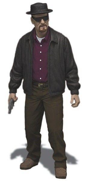 Figura articulada de la serie de televisión Breaking Bad, tamaño aprox. 15 cm. Mezco Toyz se complace en presentar a Walter White: genio en química que se volvió profesor de ciencias, el personaje central de Sony Picture Television aclamada por la crítica y galardonada, la exitosa serie Breaking Bad nos inmortaliza al personaje en esta figura de acción coleccionable.Esta figura retrata las inolvidables características de Walter y su alter ego de Heisenberg. Tamaño: 15 cm.