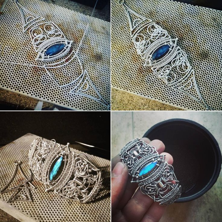 silver wire wrapped bracelet with labradorite - work in progress https://www.facebook.com/IzaMalczykJewellery/