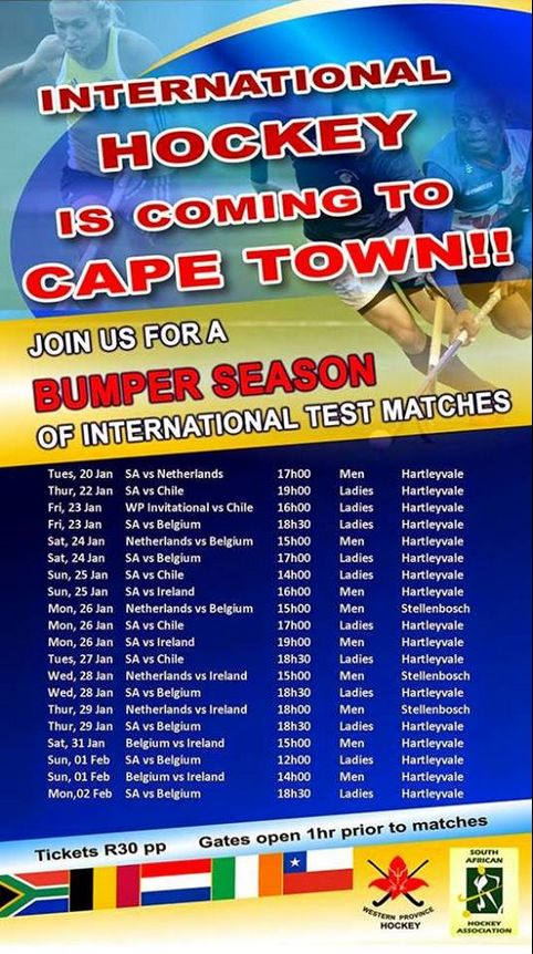 Some of the world's top national hockey teams – think the Netherlands, Belgium and, of course, South Africa- will duke it out on fields in and around Cape Town over the next few weeks. The first match, which sees our local team take on the Dutch squad, is set to take place at the Hartleyvale astro at 5pm today. Share the schedule below with a fellow hockey enthusiast.