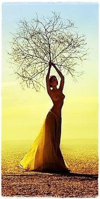 Аватар вконтакте Обнаженная девушка в пустыне держит над головой перекати-поле, фотограф Anna Shakina