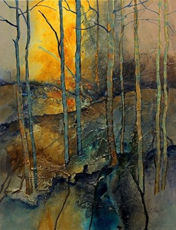 Into the Woods 1, 052817 by Carol Nelson Acrylic ~ 20 inches x 16 inches