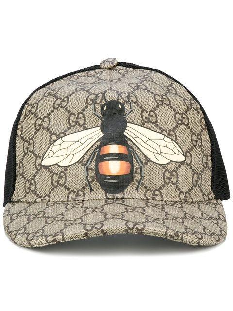 GUCCI Bee Print Gg Supreme Baseball Cap. #gucci #cap