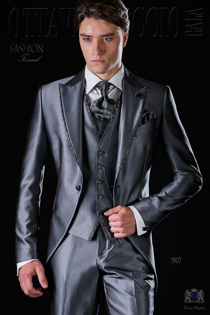 Italienisch anthrazit graue Gehrock Bräutigam Anzug mit graue Jacquard-Kontrast, steigendes Revers und 1 Knopf. Hochzeitsanzug 1907 Kollektion Fashion Formal Ottavio Nuccio Gala.