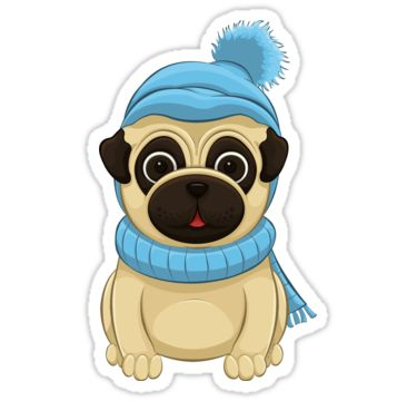 Winter Pug Stickers by AnMGoug on Redbubble. #Winter #scarf #hat #toque #pug #sticker