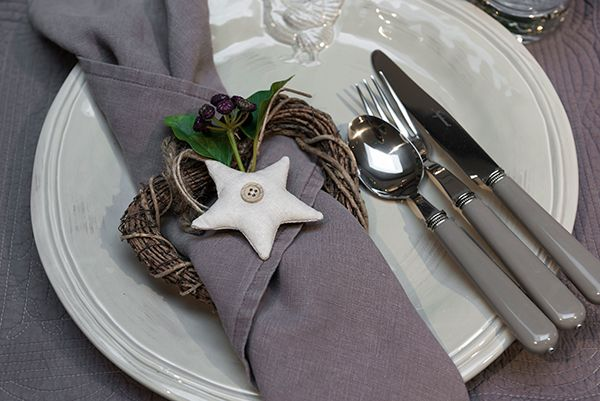 Emily napkin in Peat with Millie fabric decoration #neptune #NeptuneChristmas #christmastable www.neptune.com