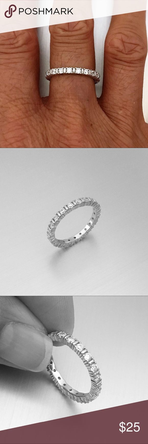 Sterling Silver Eternity CZ Band Sterling Silver Eternity CZ Band  Wedding Band  Stackable Ring  Pinky Ring  Index Ring  Thumb Ring  925 Sterling Silver, Band Width 3 mm, Stone Clear CZ Jewelry Rings