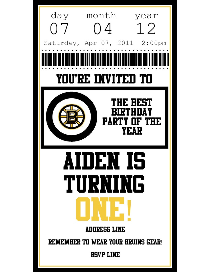 Personalized Printable Boston Bruins Hockey Ticket Birthday Invitation. $6.00, via Etsy. - Absolutely disgusted with myself for not having Dominic's 1st birthday Bruin's themed. WTF WAS I THINKING?! 2nd birthday DEFINITELY!!!
