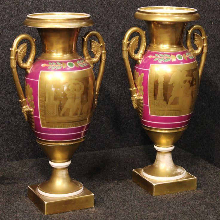 1250€ Couple of French vases of Napoleon III era. Visit our website www.parino.it #antiques #antiquariato #object #porcelain #vase #antiquities #antiquario #lacquered #collectible #decorative #interiordesign #homedecoration #antiqueshop #antiquestore