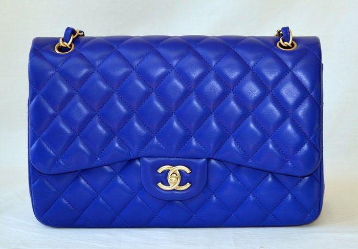 Chanel Blue Classic Lambskin Flap GHW Jumbo 13S
