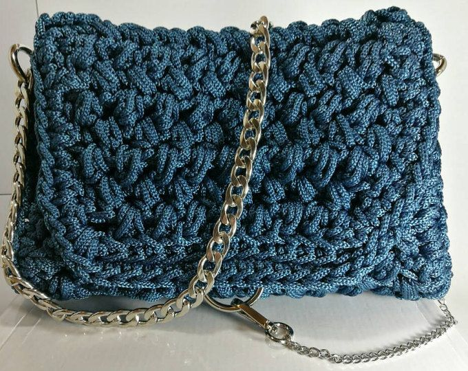 Women's petrol Blue handbag with silver details and chain/crochet