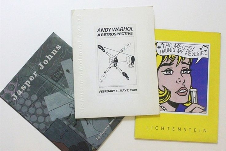 Andy Warhol  Roy Lichtenstein  Jasper Johns  Rare Set of Three Vintage Press Kits for Andy Warhol (MOMA), Roy Lichtenstein (National Gallery, LACMA & Dallas Museum) and Jasper Johns (MOMA) Exhibitions, 1989-1997  Each with brochures, press releases, magazines and a bookmark