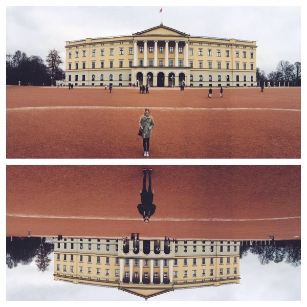 Royal Castle Norway, Hermann upside down and Kristina. Missoni Scarf, V-Collection jacket