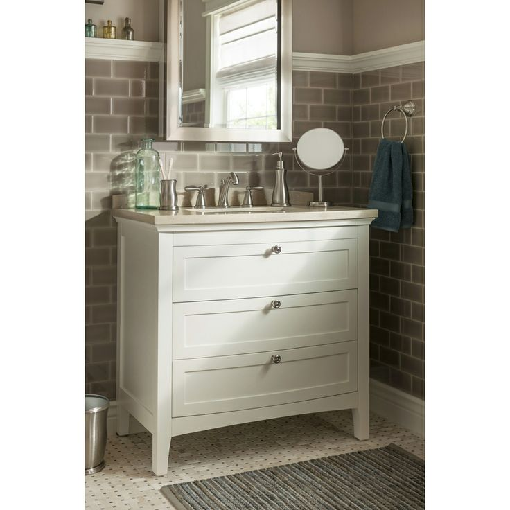 Shop allen roth norbury 36 in x 22 in white with - Lowes single sink bathroom vanity ...