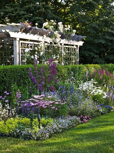 English garden with an arbor