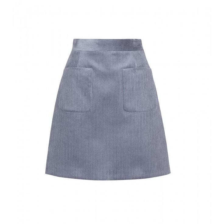 Miu Miu - Corduroy miniskirt - Step back to the sixties with this Miu Miu miniskirt. Crafted from greyish blue corduroy, it has a fitted waist and full silhouette, accented by patch pockets. The ribbed texture of the fabric will complement an intricate jacquard immaculately. seen @ www.mytheresa.com