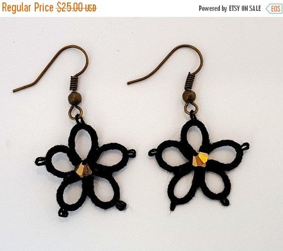 ON SALE Blacks lace earrings, handmade earrings with beads and swarovski.