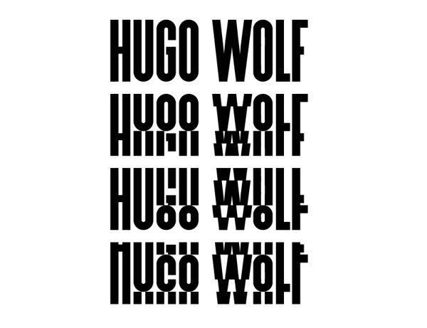 Hugo Wolf Lied book by tobias schererbauer - This incredibly interesting logotype shifts sections of typography in each word which distorts our interpretation of it. If seen in isolation one word may be incomprehensible but together the words can be worked out by the user. This is a very involving process that I could adapt to really get the users interested in my work.