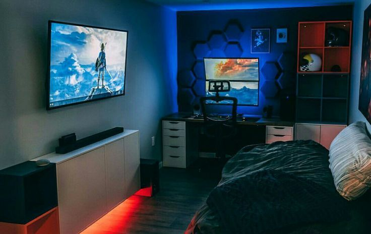 Hexagons On The Wall Bedroom Setup Small Game Rooms Gamer Room