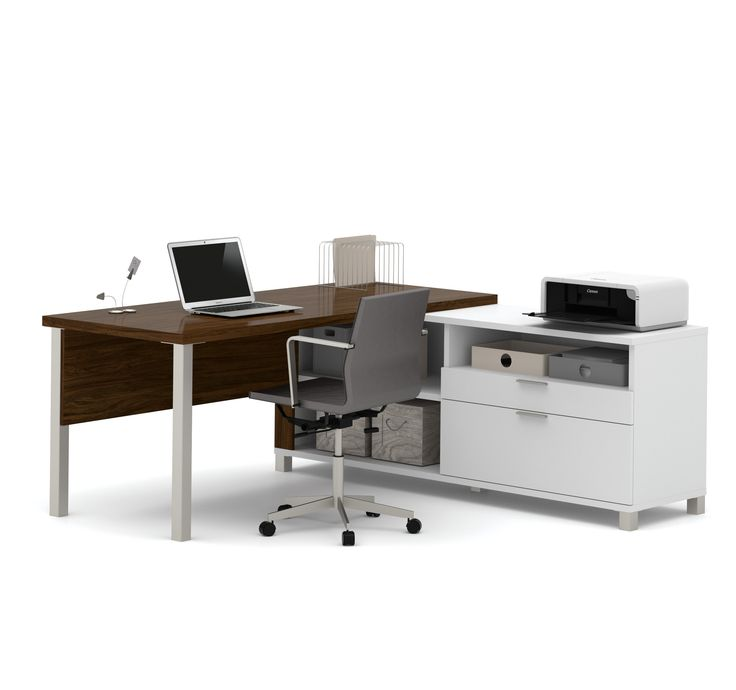 Premium Modern L Shaped Desk In Oak Barrel White