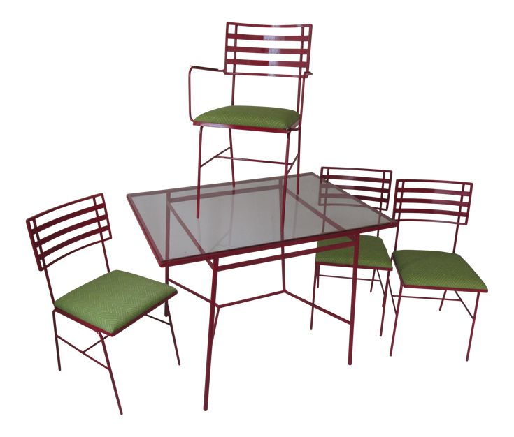 Mid-Century Modern Outdoor Dining Set - 5 Pieces on Chairish.com