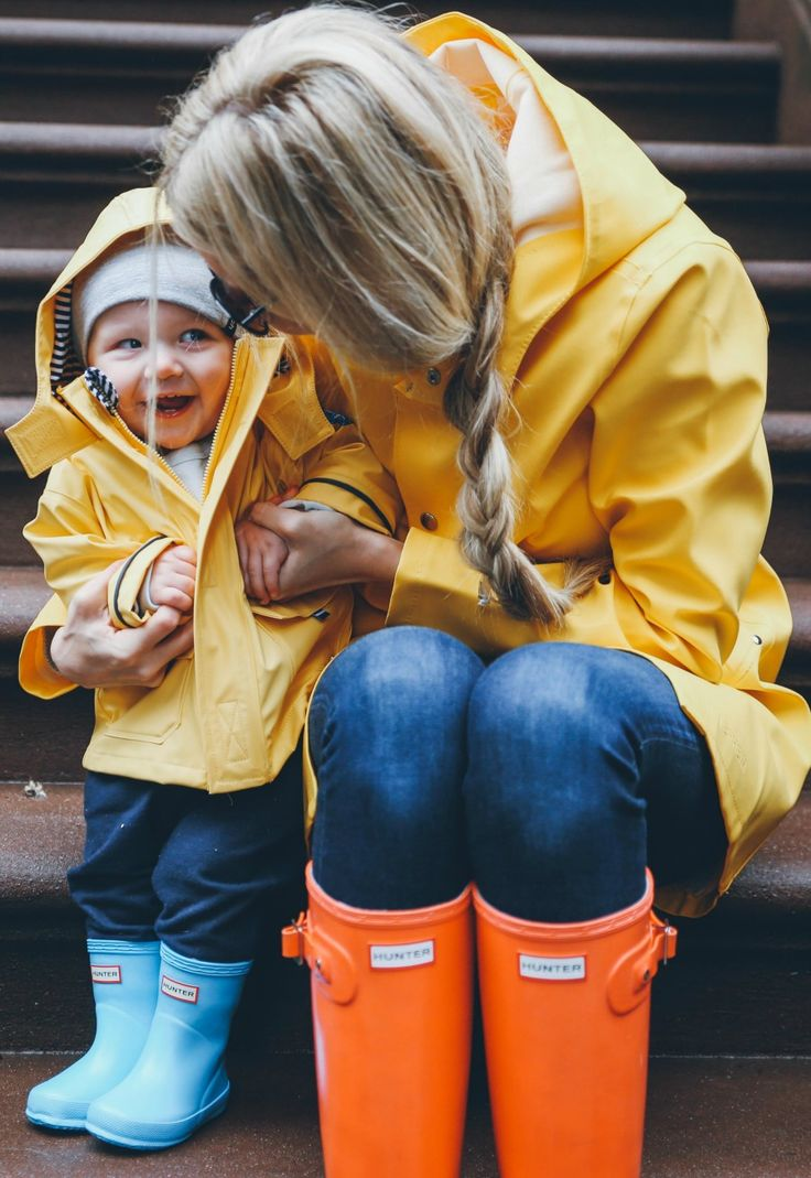 wear little rain slickers, wellies, and babyGap knit pants for a grey day.
