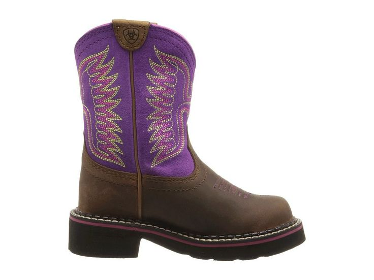 Ariat Kids Fatbaby Thunderbird (Toddler/Little Kid/Big Kid) Cowboy Boots Powder Brown/Amethyst