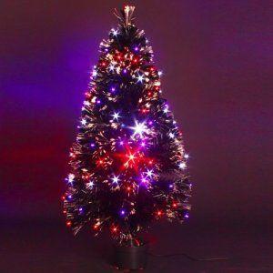 DECO NOEL – Sapin de Noël artificiel lumineux en fibre optique + 136 LED – livré dans son pot – Lumière à variation de couleurs – Hauteur…