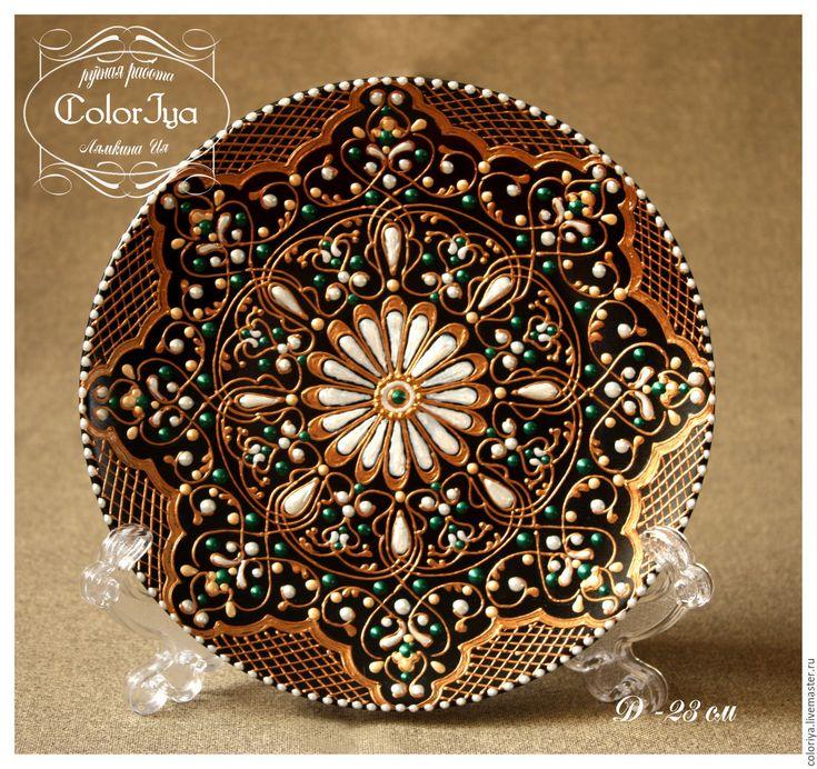 """Купить Декоративная тарелка """"Эсен"""" - золотой, орнамент, тарелка с росписью, тарелка на стену, лучший подарок"""