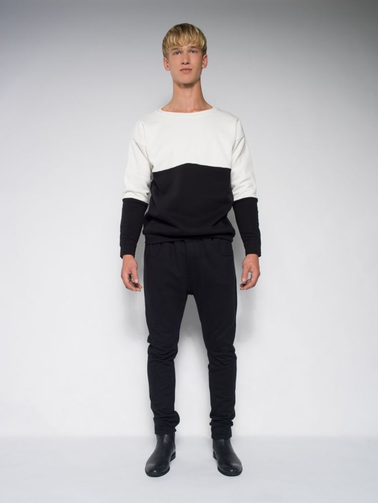 MALE BLACK&WHITE SWEATSHIRT Streetwear tailor-made polish streetstyle