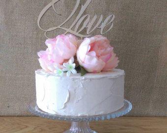 Cake topper - LOVE Wedding Cake Topper - Raw Wood