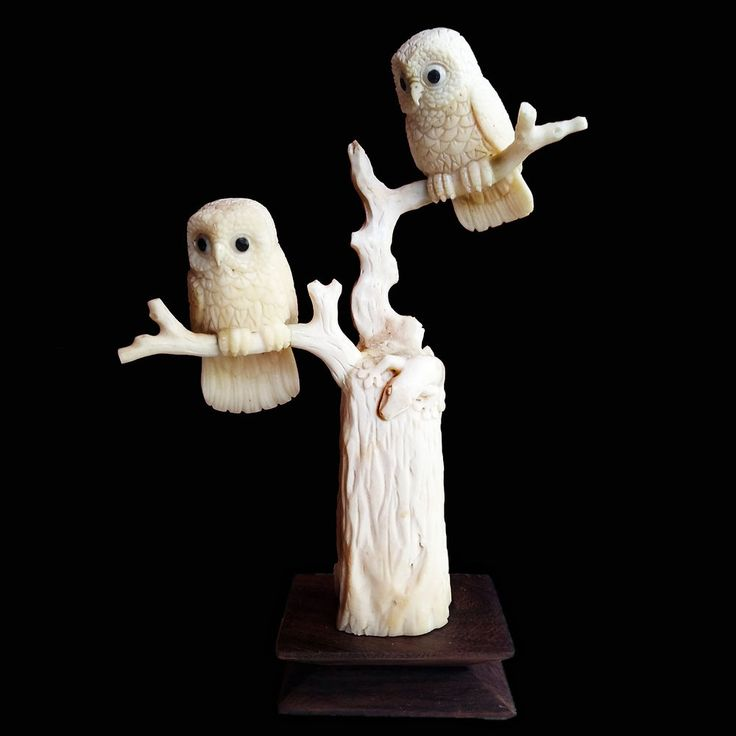 Hand Carved Owl Statue Natural Buffalo Bone Sculpture Home Decoration #Handmade #Contemporary