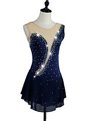 Figure+Skating+Dress+Women's+Girls+Girls'+Ice+Skating+Dress+Navy+Blue+Rose+Red+Blue+Rhinestone+High+Elasticity+Performance+Skating+Wear+–+USD+$+135.98