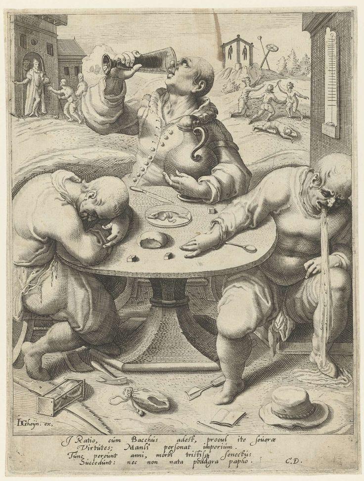 Drie dronkaards rond een tafel, Jacob de Gheyn (II), Cornelius Duyn, 1593 - 1597