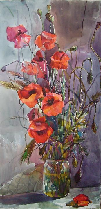 """Poppies"", watercolor, Nasyrova Alia http://art-on-line.com.ua/ru/322_nasyrova-alija-jivopis-akvarel"