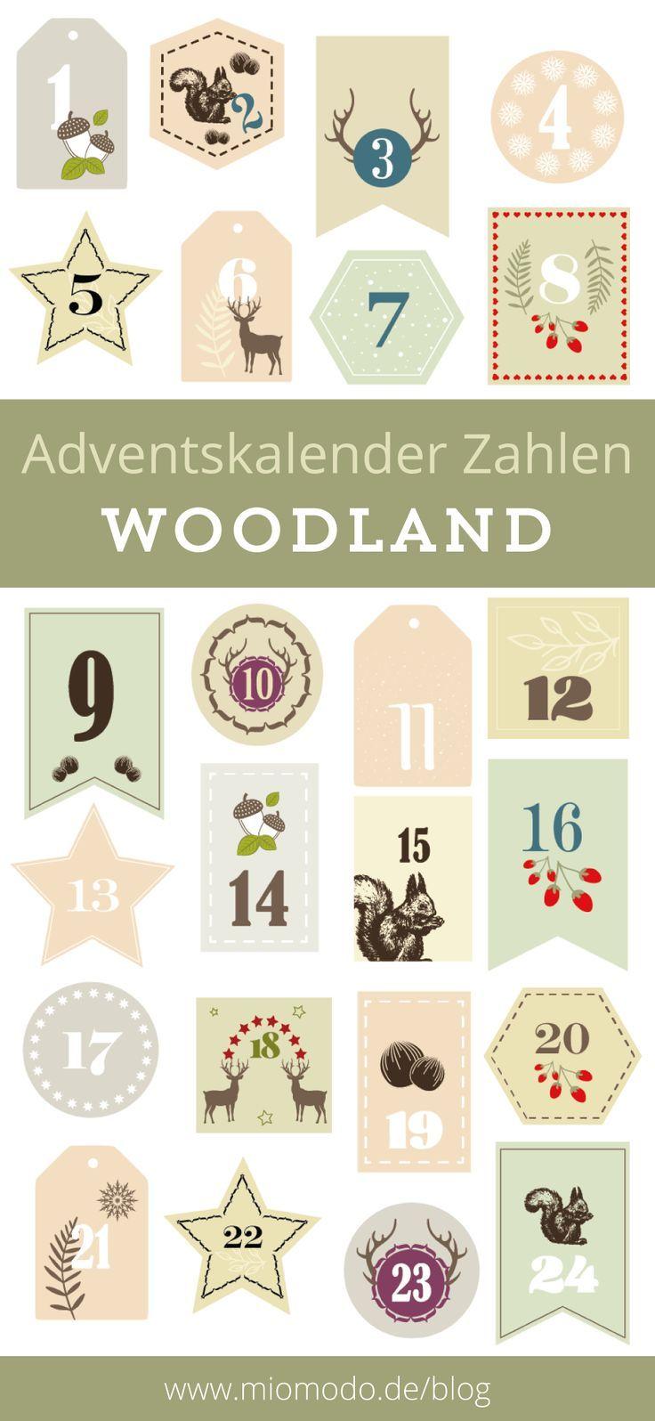 DIY Adventskalender Zahlen Woodland