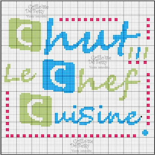 Cuisine kitchen chef point de croix cross stitch for Grille de cuisine