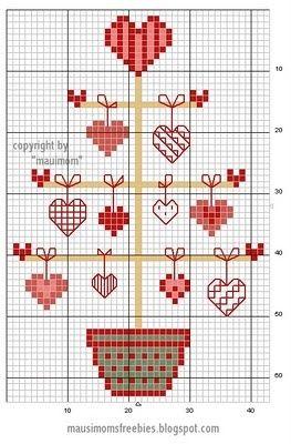 Valentines Day tree cross-stitch