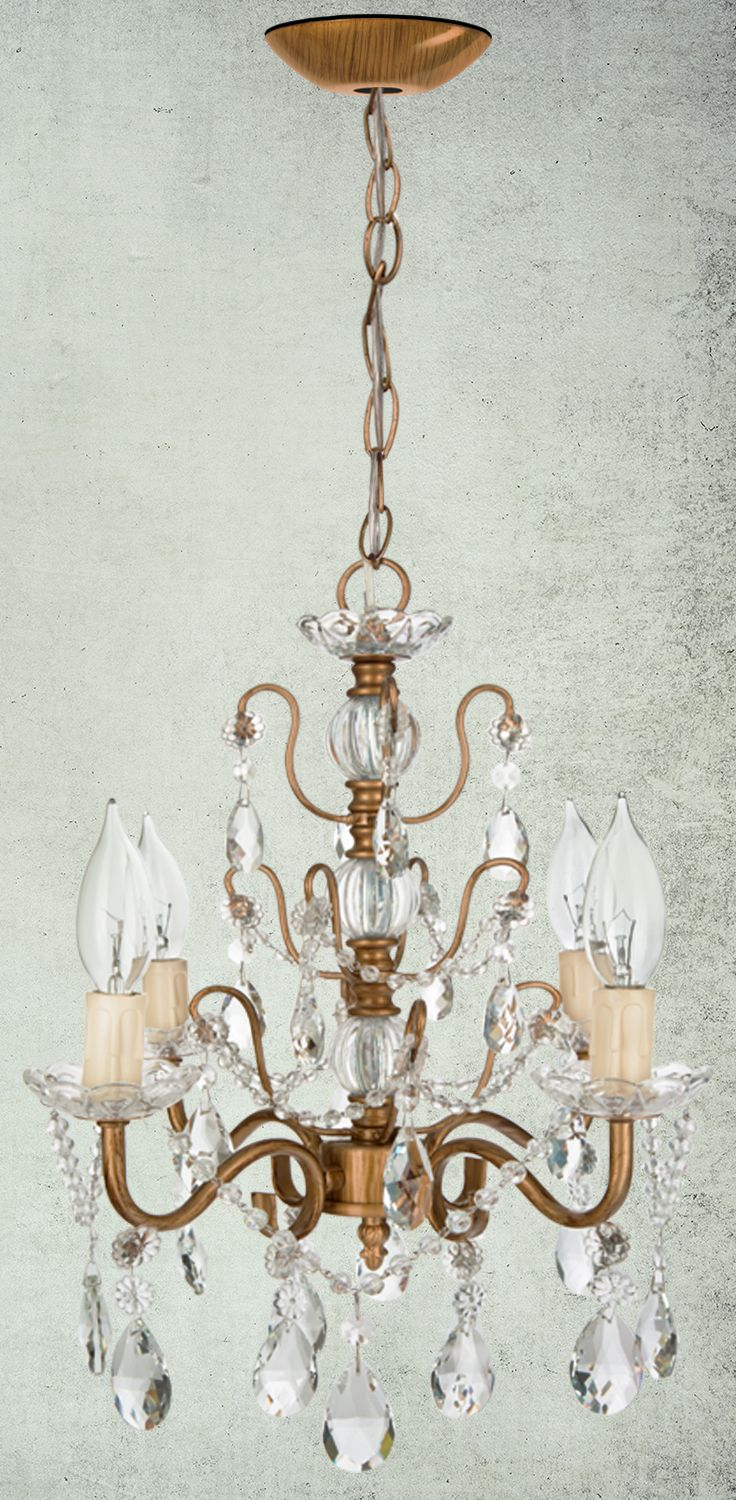 49 best shop crystal chandeliers by amalfi dcor images on pinterest 4 light shabby chic crystal plug in chandelier gold arubaitofo Image collections