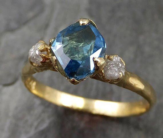 Parcialmente facetado azul topacio diamante 18k oro anillo de